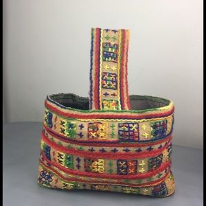 Handbags - Handmade embroidered burlap hand bag multi color